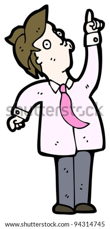 businessman pointing upwards cartoon (raster version)