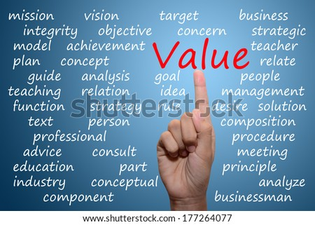 businessman pointing value concept