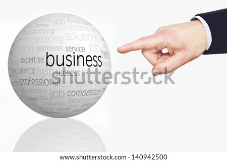 businessman pointing with his finger - stock photo