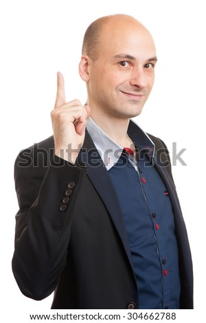 Businessman pointing with his finger up. Isolated - stock photo