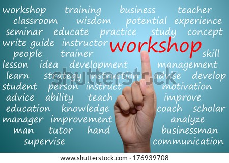 businessman pointing workshop concept