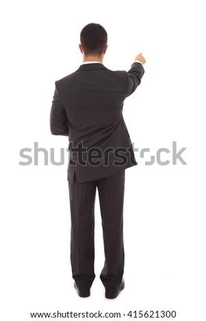 Businessman points finger up. Isolated on white background - stock photo