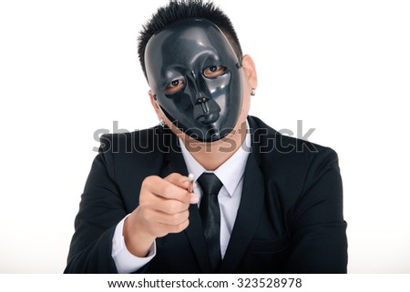 businessman portraits, black mask on the face, Money in hand, on white background