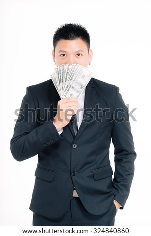 businessman portraits, Money in hand, on white background - stock photo