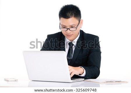 businessman portraits,,stressful job, work hard, laptop, Asian, on white background