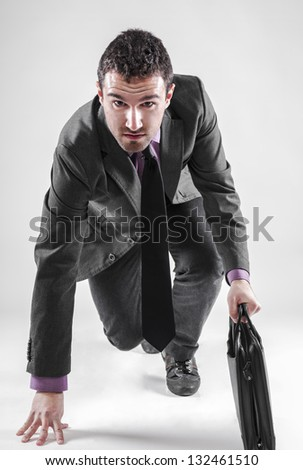 Businessman prepared for a run