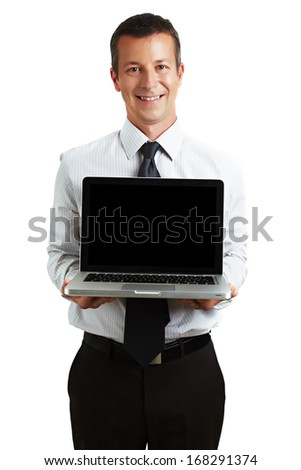 Businessman presenting a laptop