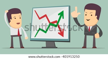 Businessman Presenting Business Growth Chart - a man at the presentation. Stock illustration - stock photo