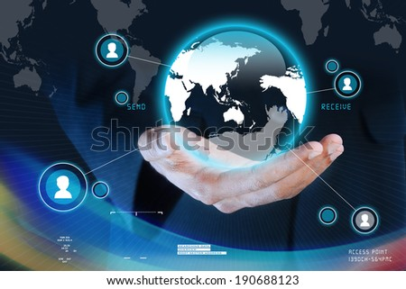 Businessman presenting global network media concept