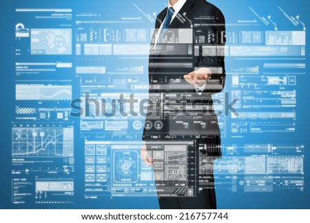 businessman presenting graphs and diagrams  - stock photo