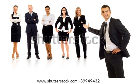 businessman presenting his team isolated over a white background