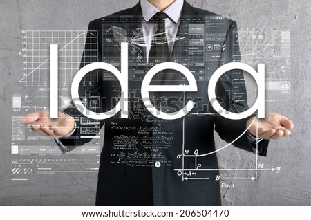 businessman presenting Idea concept of his own hands:  - stock photo