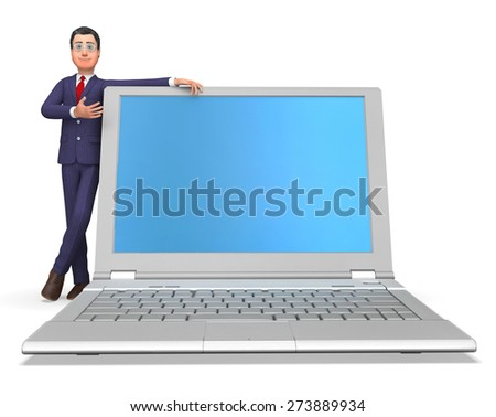 Businessman Presenting Indicating World Wide Web And Website