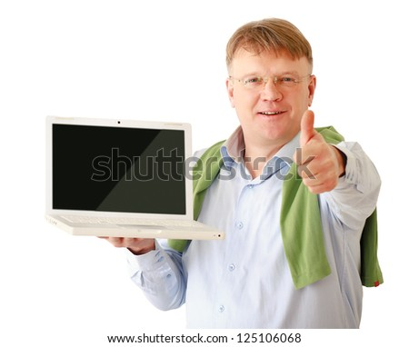Businessman presenting laptop and showing ok, isolated on white - stock photo