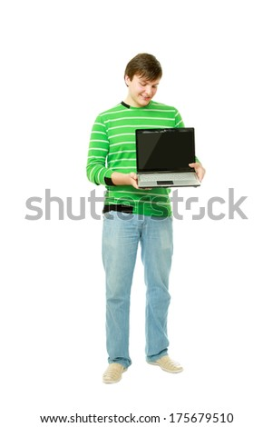 Businessman presenting laptop isolated on white - stock photo