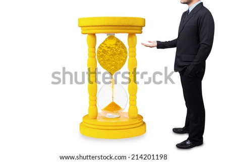 businessman presenting million dollar coin in vintage hourglass  - stock photo
