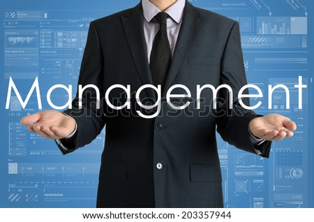 businessman presenting sign Management with their hands - stock photo
