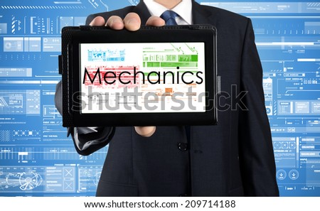 businessman presenting something on tablet with business or technology background - mechanics - stock photo
