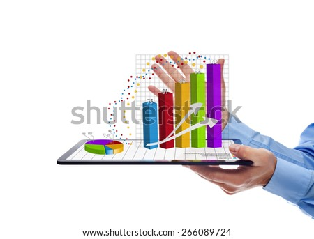 Businessman presenting the annual report charts - working on a tablet computer, isolated - stock photo