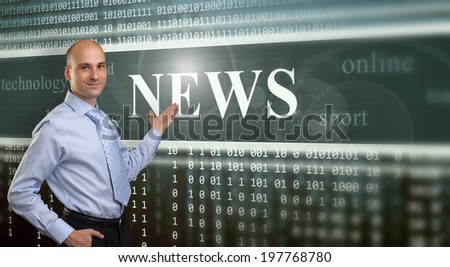 Businessman Presenting The News on digital screen - stock photo