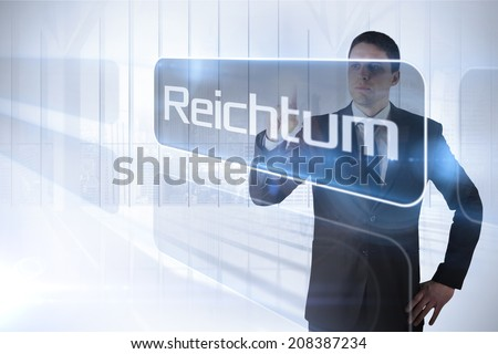 Businessman presenting the word fortune in german against white room with large window overlooking city - stock photo
