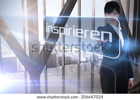 Businessman presenting the word inspire in german against room with large window looking on city - stock photo