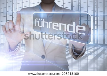 Businessman presenting the word leading in german against room with large window overlooking city - stock photo