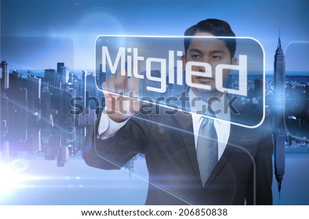 Businessman presenting the word member in german against mirror image of city skyline - stock photo