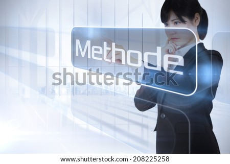 Businessman presenting the word method in german against white room with large window overlooking city - stock photo