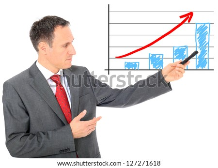 Businessman presents positive chart. All on white background.