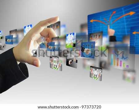 Businessman press business collection - stock photo