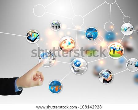 businessman press business diagram - stock photo