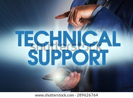 Businessman presses button technical support on virtual screens. Business, technology, internet and networking concept. - stock photo