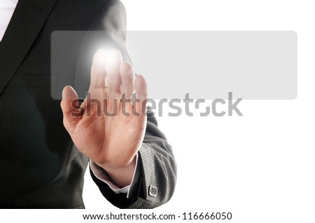 businessman pressing a button on a virtual background