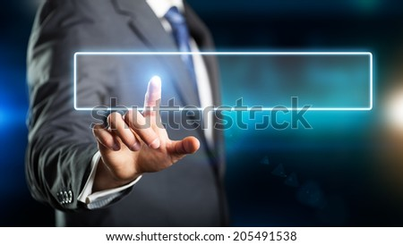 businessman pressing a virtual text area