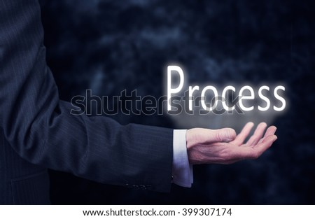 Businessman pressing an Process concept button.
