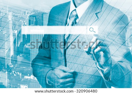 Businessman Pressing Business Team Search Button.