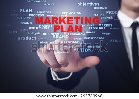 Businessman pressing button on touch screen interface and select  marketing plan. Business concept.