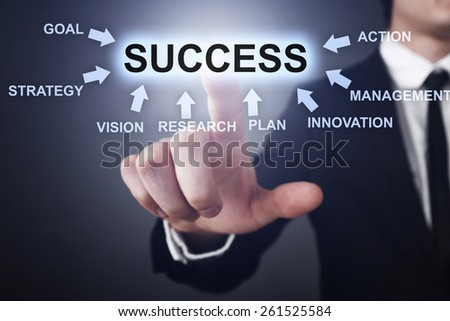Businessman pressing button on touch screen interface and select success.   business concept. - stock photo