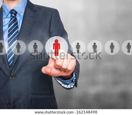 Businessman pressing button on virtual screens. Business, technology, internet, networking and recruitment concept - Isolated on grey background. Stock Photo - stock photo