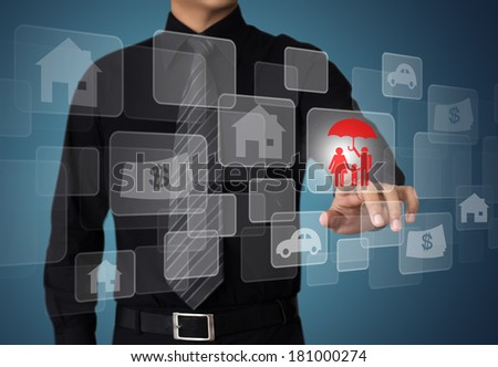 Businessman pressing button on virtual screens, internet and networking concept - stock photo