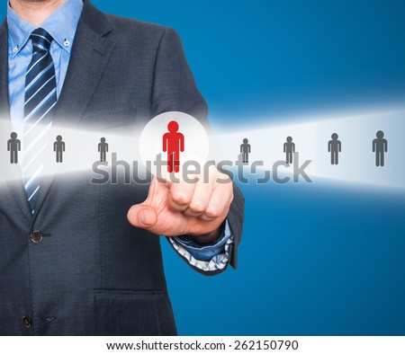 Businessman pressing button.Technology, internet, networking and recruitment concept. Isolated on blue background. Stock Photo  - stock photo