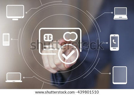 Businessman pressing button web credit card computer network - stock photo