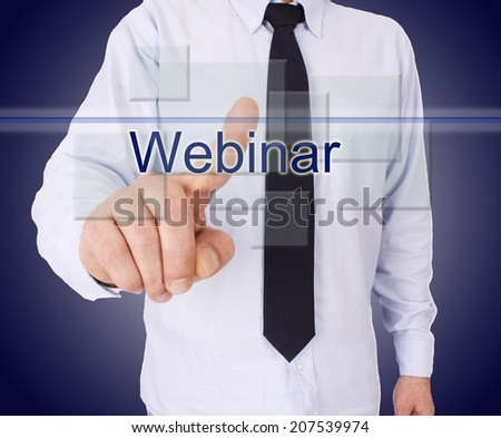 businessman pressing button with words