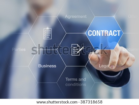 Businessman pressing contract on a digital screen, concept about agreement in business - stock photo