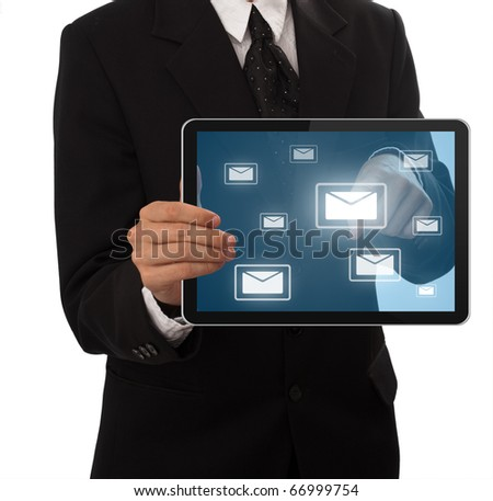Businessman pressing e-mail button on touch pad, isolated on white