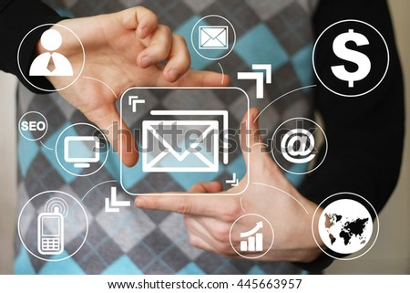 Businessman pressing messaging mail sending network