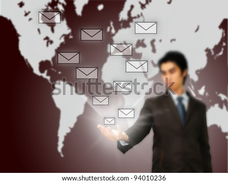 Businessman pressing messaging type of modern icons - stock photo