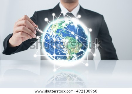 businessman  pressing modern buttons. Elements of this image furnished