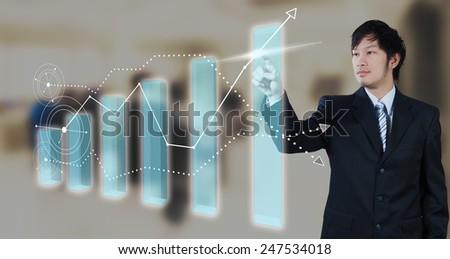 Businessman pressing on digital virtual screen, globalization ma - stock photo